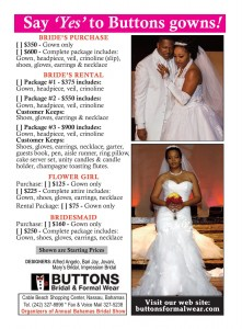 Buttons wedding package flyer 8x11 - side 1